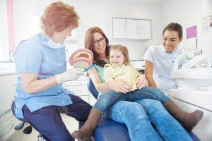 family in dental exam room
